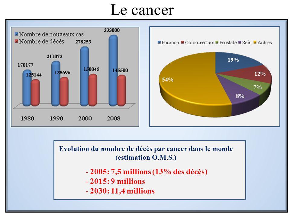 Evolution du nombre de décès par cancer dans le monde