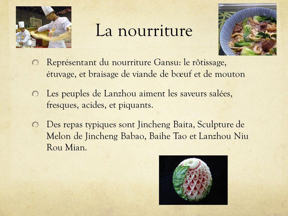 La nourriture Représentant du nourriture Gansu: le rôtissage, étuvage, et braisage de viande de bœuf et de mouton.