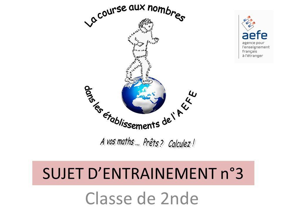 SUJET D'ENTRAINEMENT n°3