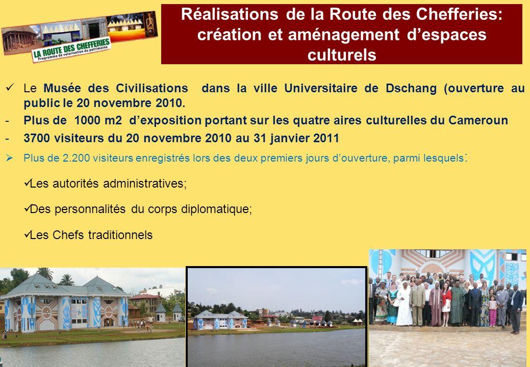 Réalisations de la Route des Chefferies: création et aménagement d'espaces culturels