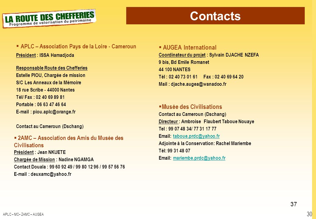 Contacts AUGEA International