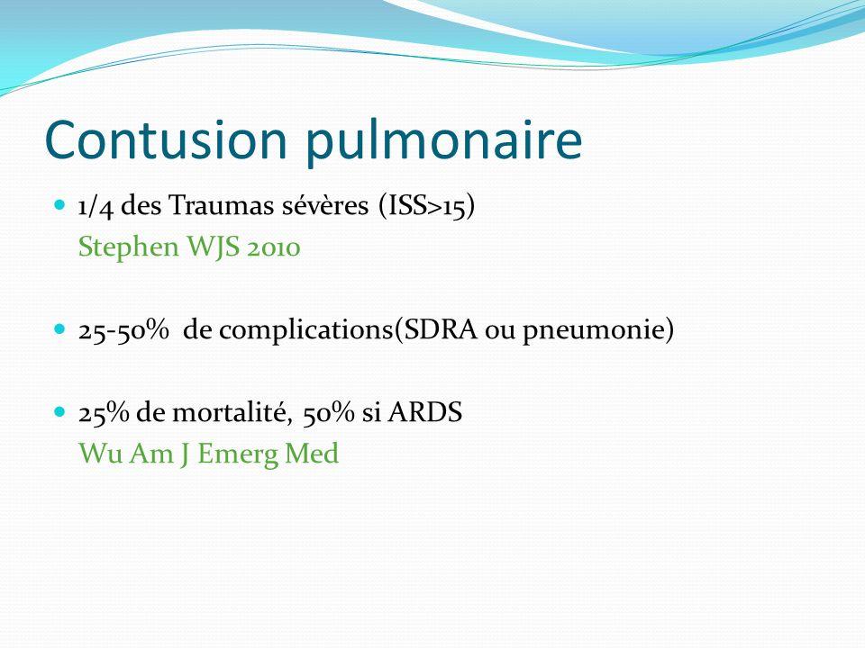 Contusion pulmonaire 1/4 des Traumas sévères (ISS>15)