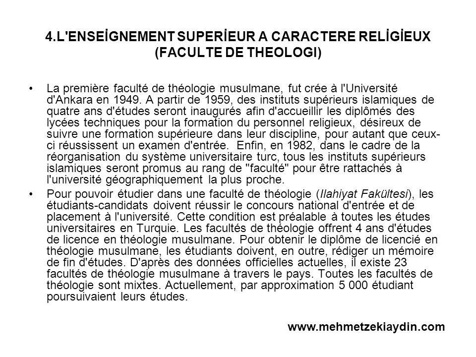 4.L ENSEİGNEMENT SUPERİEUR A CARACTERE RELİGİEUX (FACULTE DE THEOLOGI)