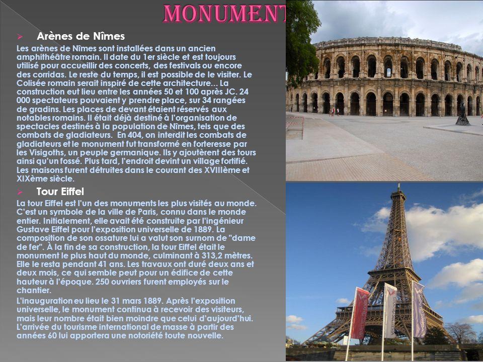 monuments Arènes de Nîmes Tour Eiffel