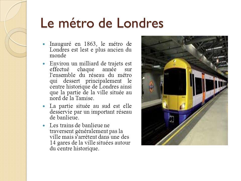 Le métro de Londres Inauguré en 1863, le métro de Londres est lest e plus ancien du monde.