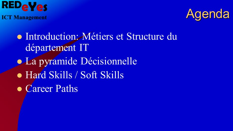 Agenda Introduction: Métiers et Structure du département IT