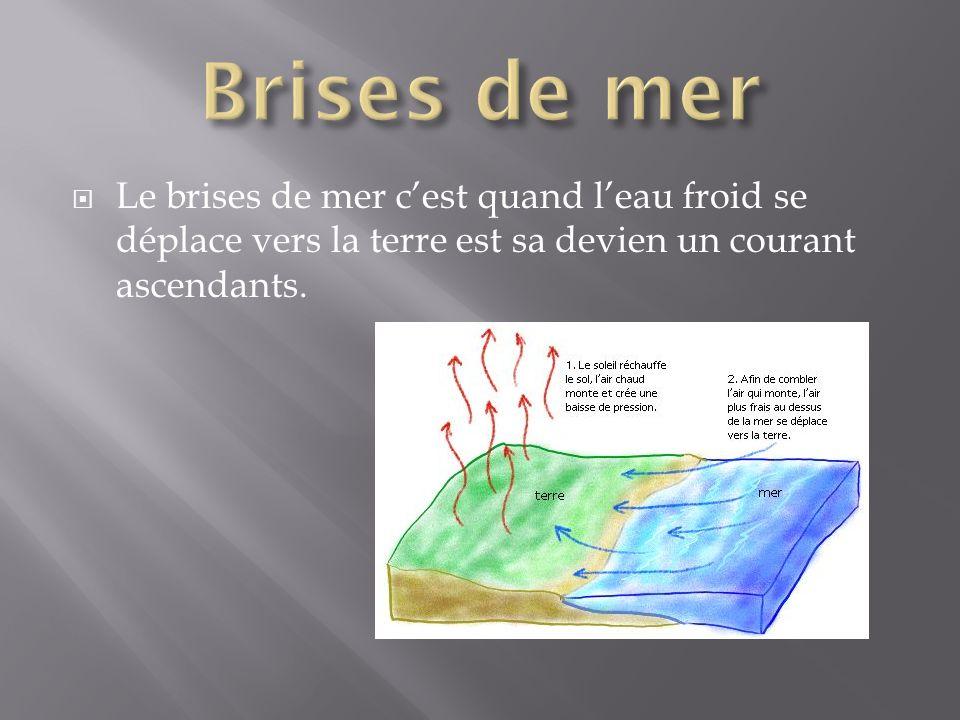 Brises de mer Le brises de mer c'est quand l'eau froid se déplace vers la terre est sa devien un courant ascendants.