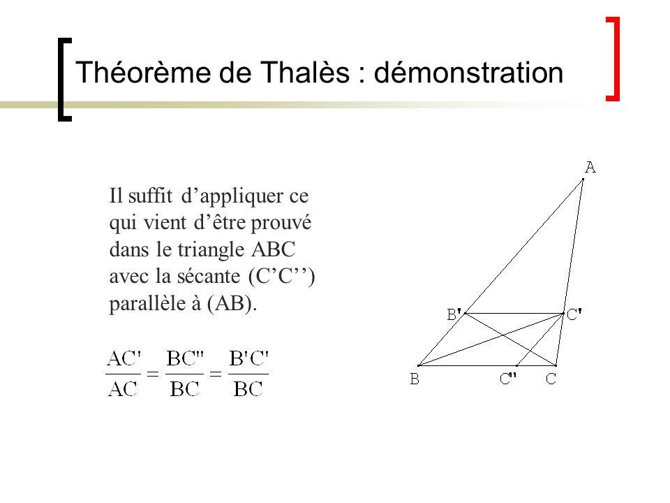 Théorème de Thalès : démonstration