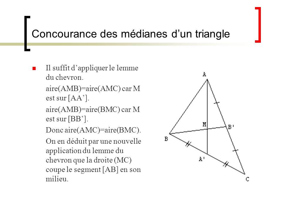Concourance des médianes d'un triangle