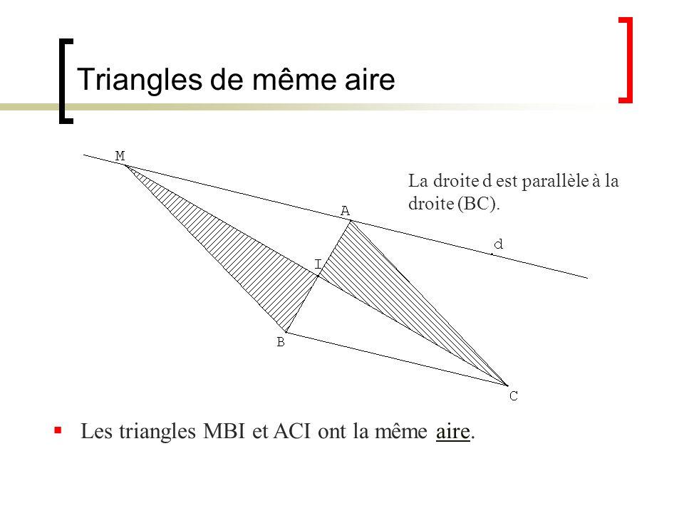 Triangles de même aire Les triangles MBI et ACI ont la même aire.