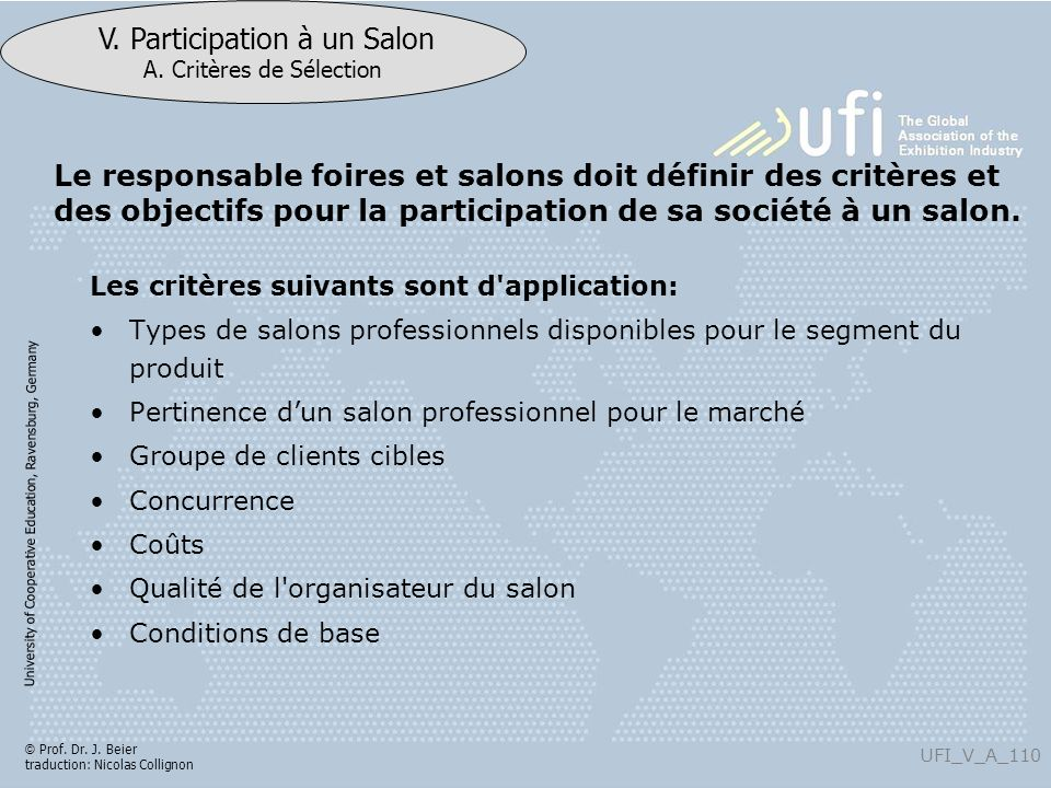 Le responsable foires et salons doit définir des critères et des objectifs pour la participation de sa société à un salon.
