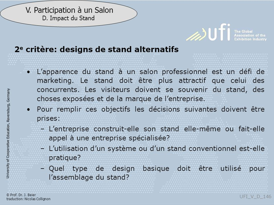 2e critère: designs de stand alternatifs
