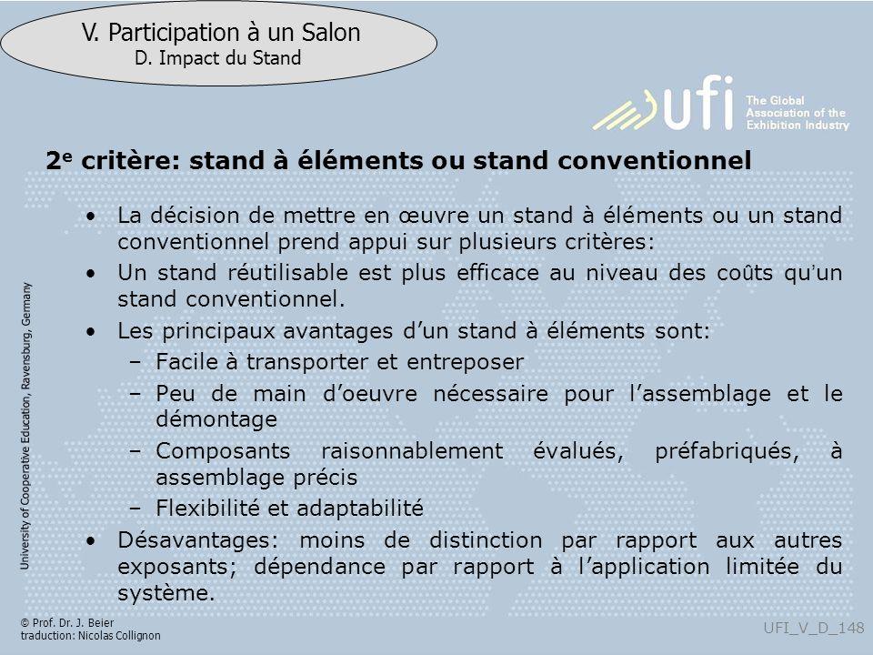 2e critère: stand à éléments ou stand conventionnel