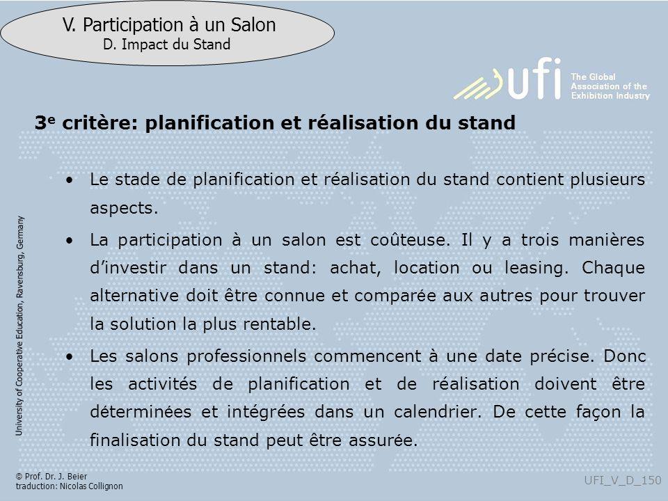 3e critère: planification et réalisation du stand