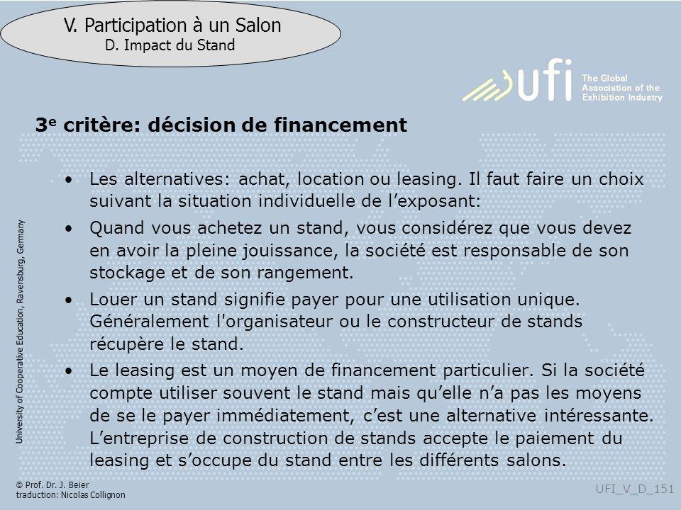 3e critère: décision de financement