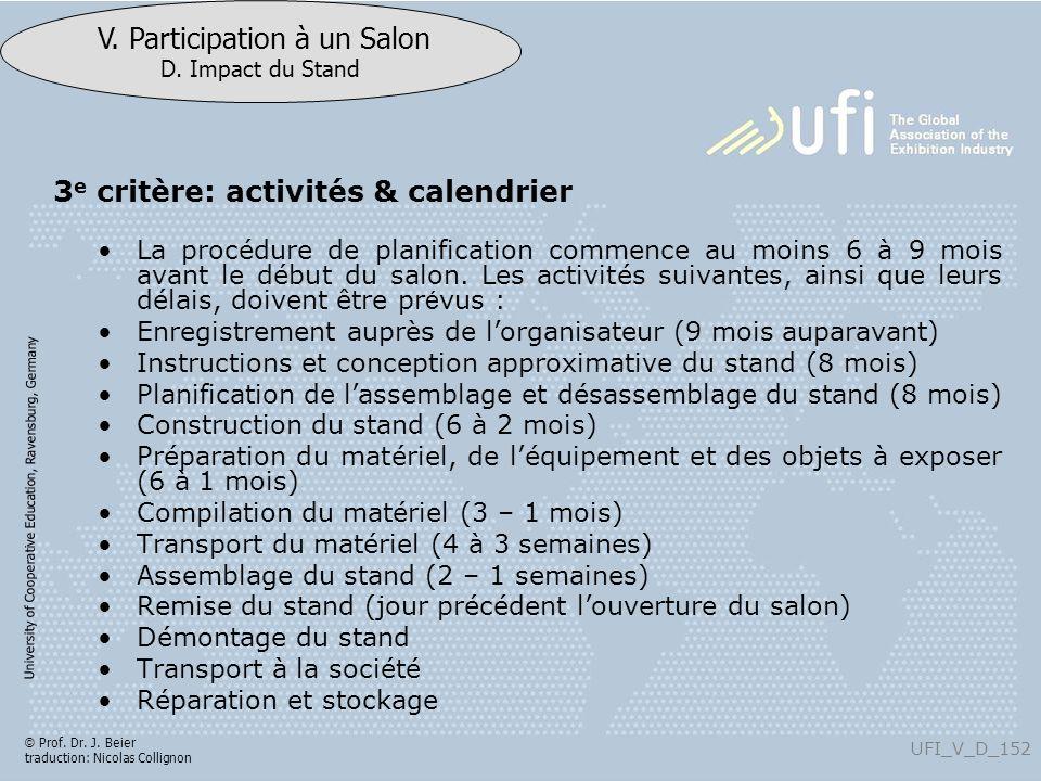 3e critère: activités & calendrier