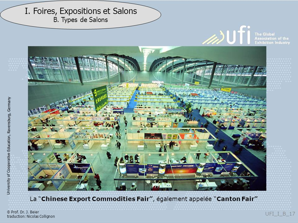The Chinese Export Commodities Fair, also called the Canton Fair, is held twice a year in Spring and Autumn since it s inauguration in 1957. It is China s largest trade fair, presenting complete varieties of goods with a vast attendance and business turnover. Preserving its traditions, this Fair is an event of international importance. 2005 Canton Fair: Approximately 200 000 attendees from 210 countries and regions. Turnover of export: 29,23 billion US.