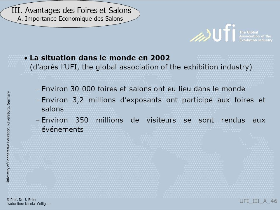 La situation dans le monde en 2002 (d'après l'UFI, the global association of the exhibition industry)