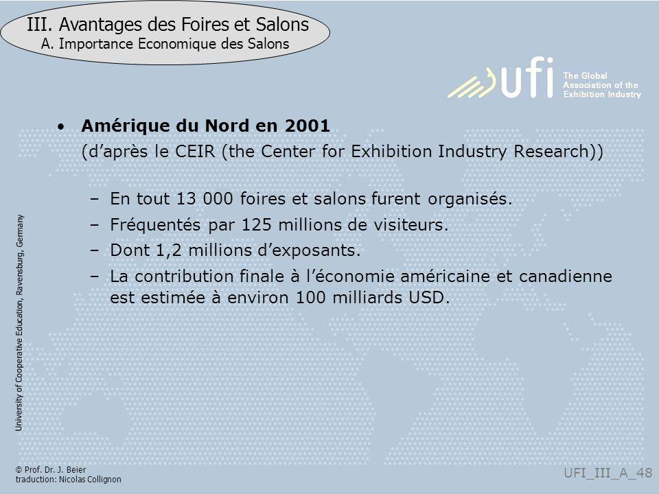 Amérique du Nord en 2001 (d'après le CEIR (the Center for Exhibition Industry Research)) En tout 13 000 foires et salons furent organisés.