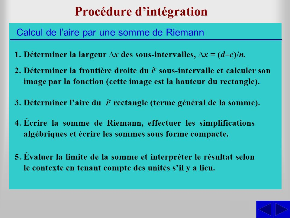 Procédure d'intégration
