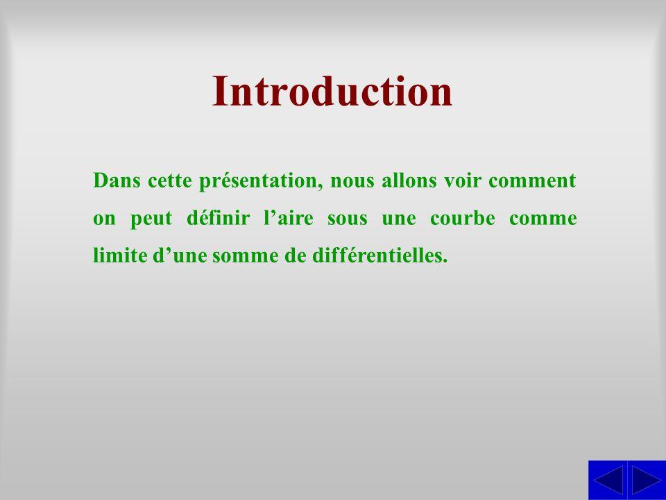 Introduction Dans cette présentation, nous allons voir comment on peut définir l'aire sous une courbe comme limite d'une somme de différentielles.