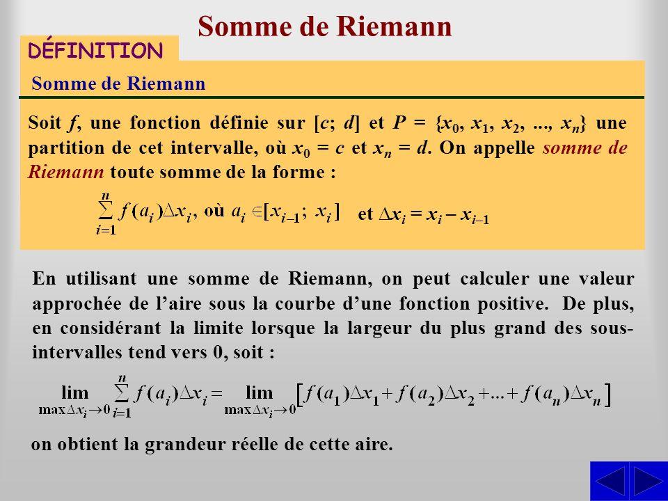 Somme de Riemann DÉFINITION Somme de Riemann