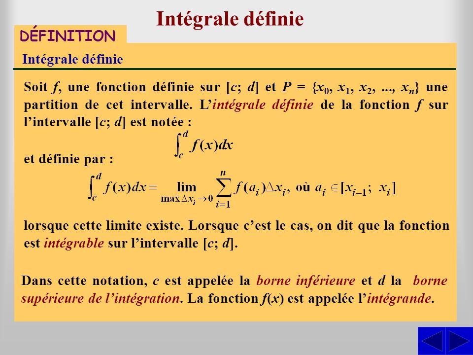 Intégrale définie DÉFINITION Intégrale définie