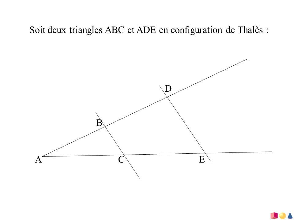 Soit deux triangles ABC et ADE en configuration de Thalès :