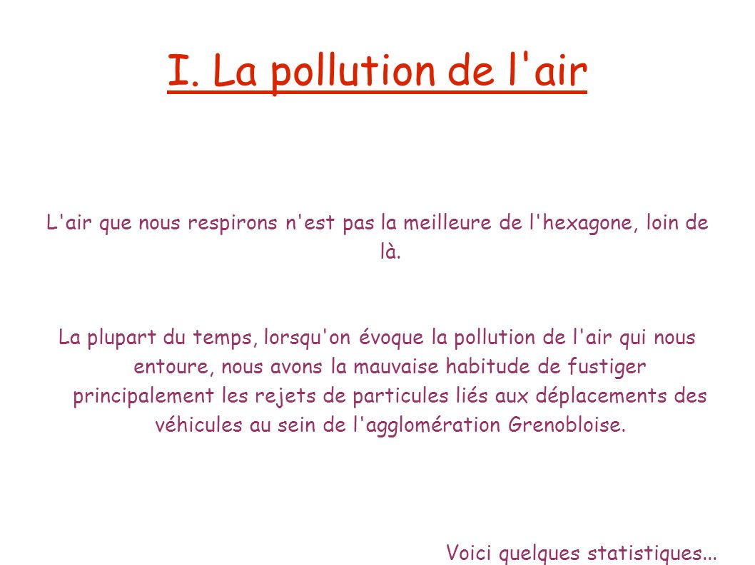 I. La pollution de l air L air que nous respirons n est pas la meilleure de l hexagone, loin de là.