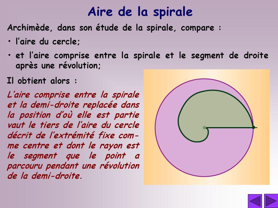 Aire de la spirale Archimède, dans son étude de la spirale, compare :