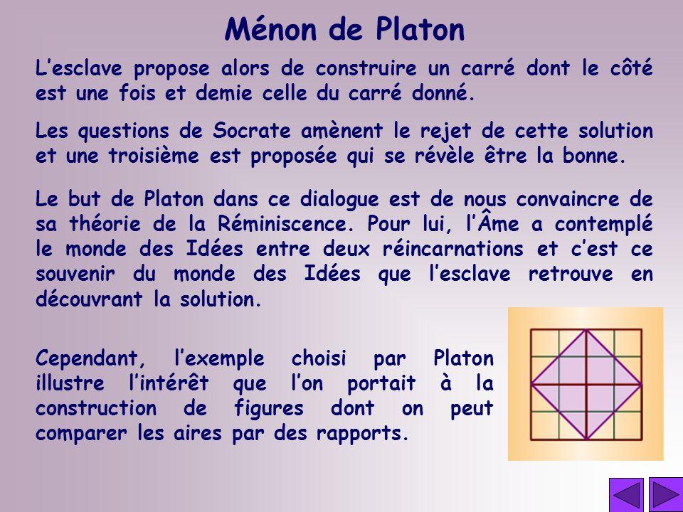Ménon de Platon L'esclave propose alors de construire un carré dont le côté est une fois et demie celle du carré donné.