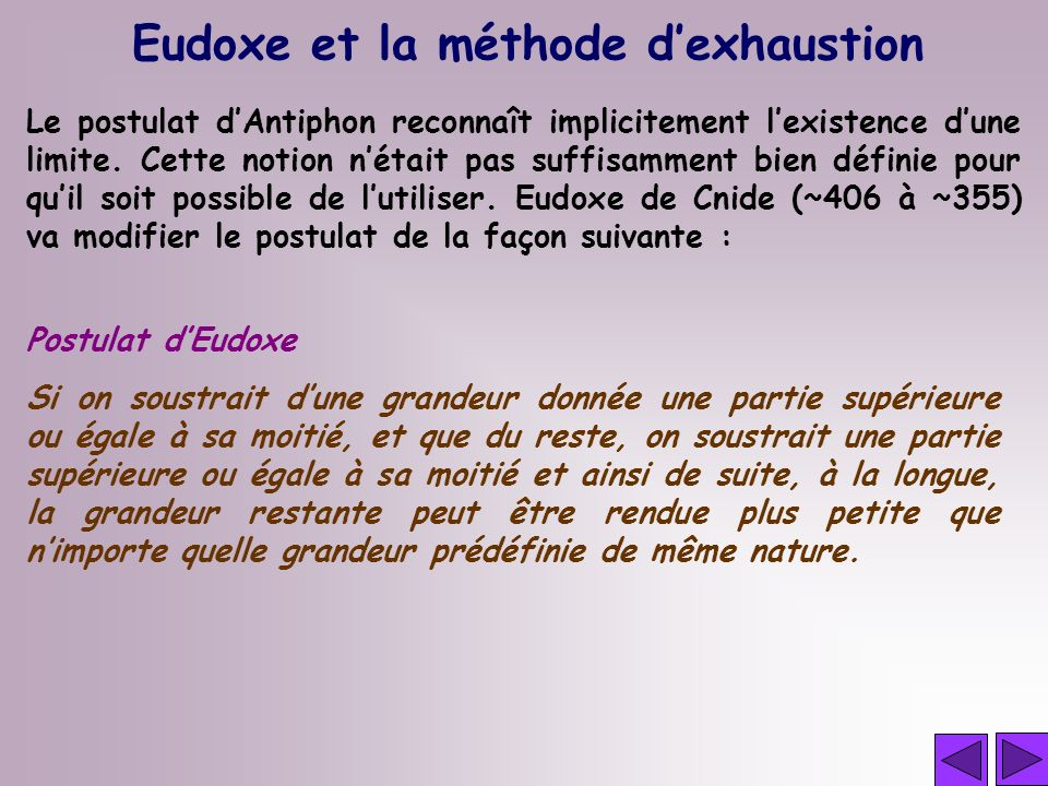 Eudoxe et la méthode d'exhaustion