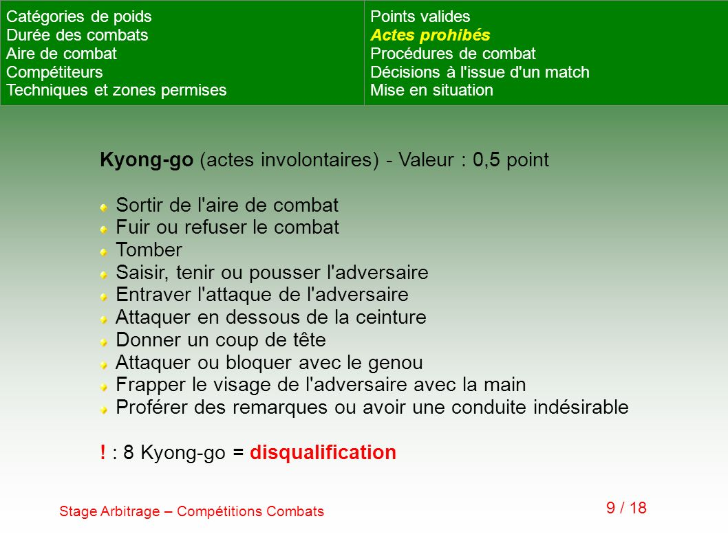 Kyong-go (actes involontaires) - Valeur : 0,5 point