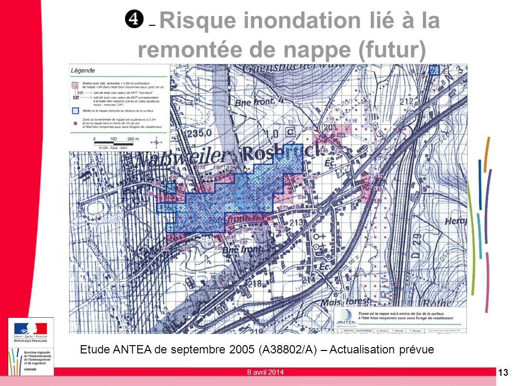 x – Risque inondation lié à la remontée de nappe (futur)