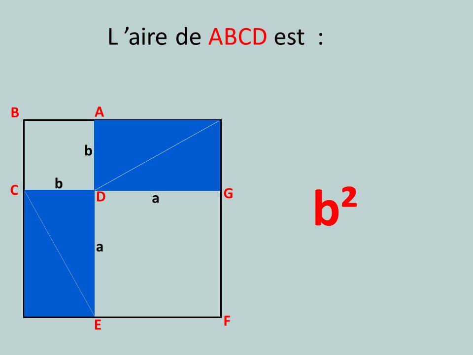 L 'aire de ABCD est : B A b b b² C G D a a F E
