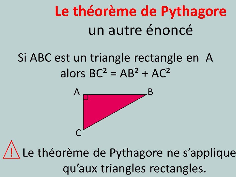 Le théorème de Pythagore un autre énoncé