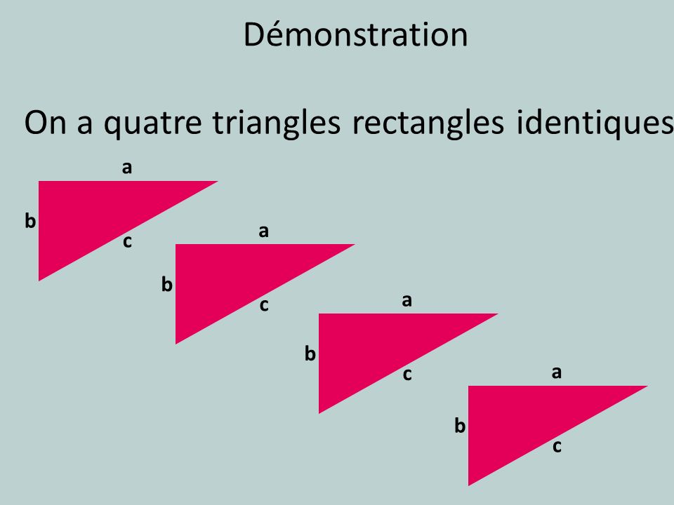 On a quatre triangles rectangles identiques