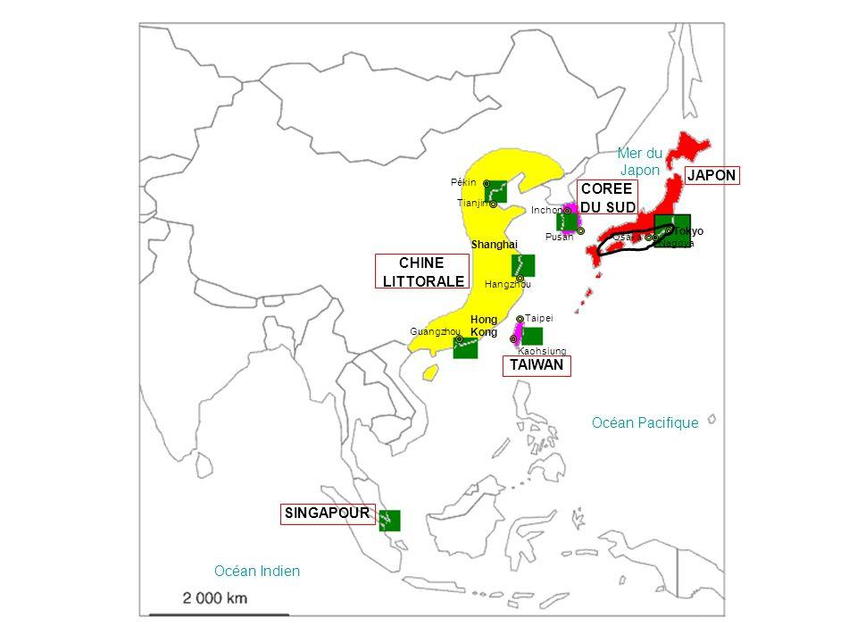 JAPON COREE DU SUD CHINE LITTORALE TAIWAN SINGAPOUR
