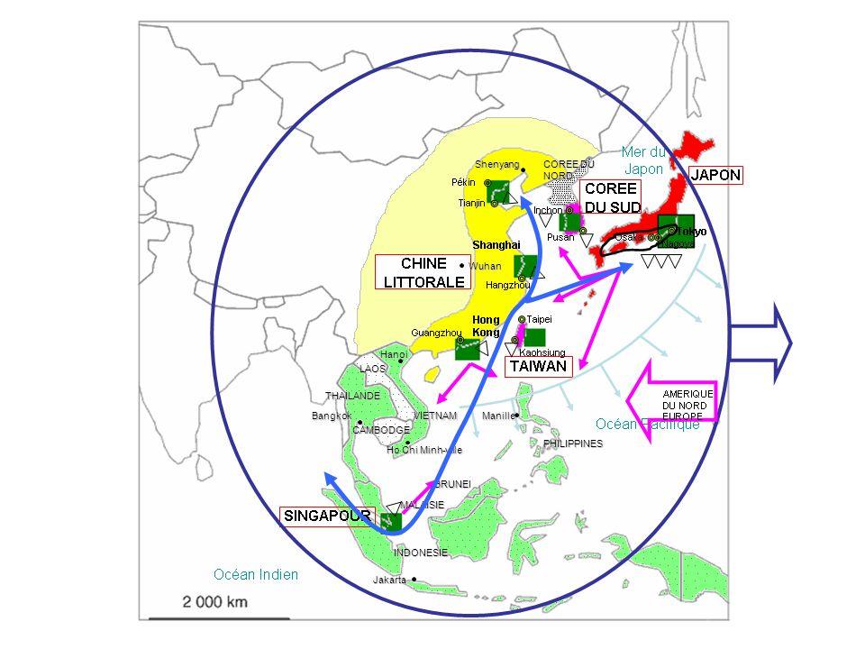 Shenyang COREE DU NORD. Wuhan. Hanoi. LAOS. THAILANDE. Bangkok. VIETNAM. Manille. CAMBODGE.