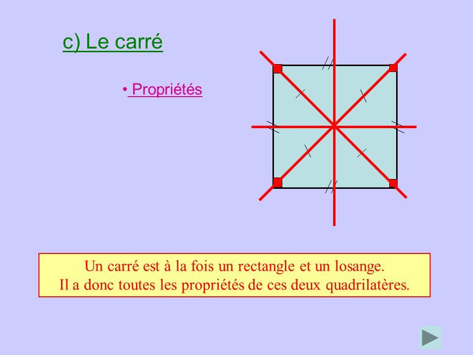 c) Le carré Propriétés. Un carré est à la fois un rectangle et un losange.