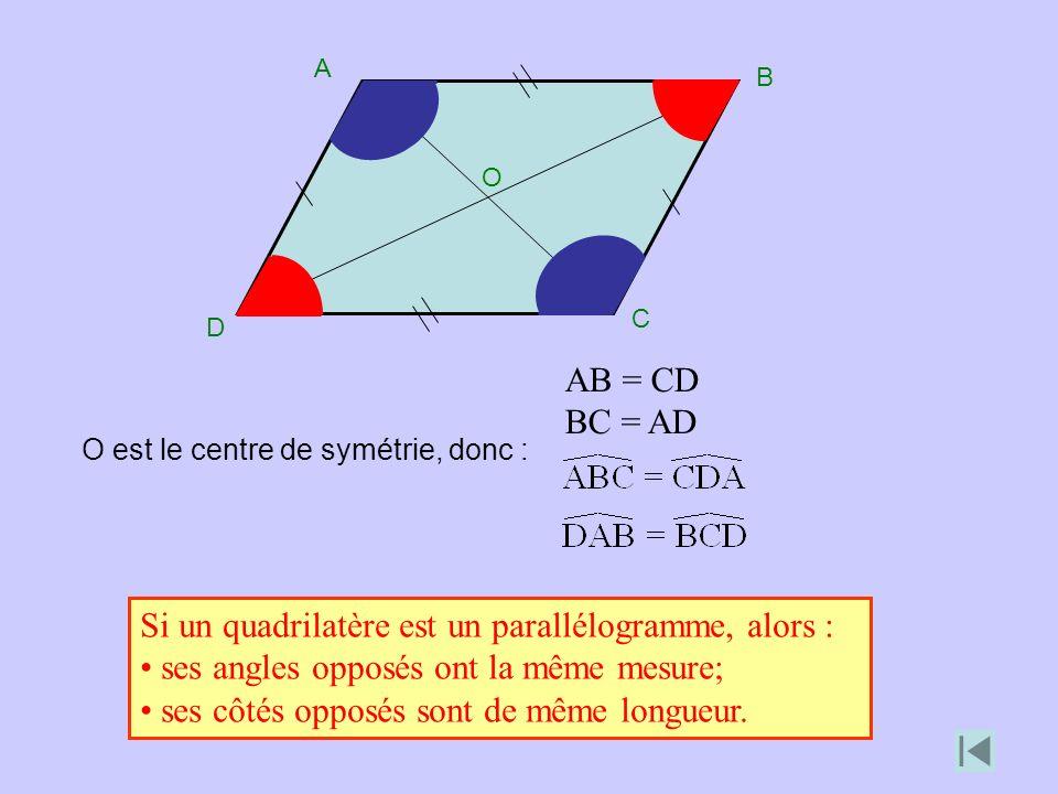 Si un quadrilatère est un parallélogramme, alors :