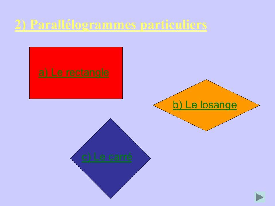 2) Parallélogrammes particuliers