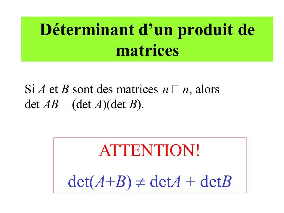 Déterminant d'un produit de matrices