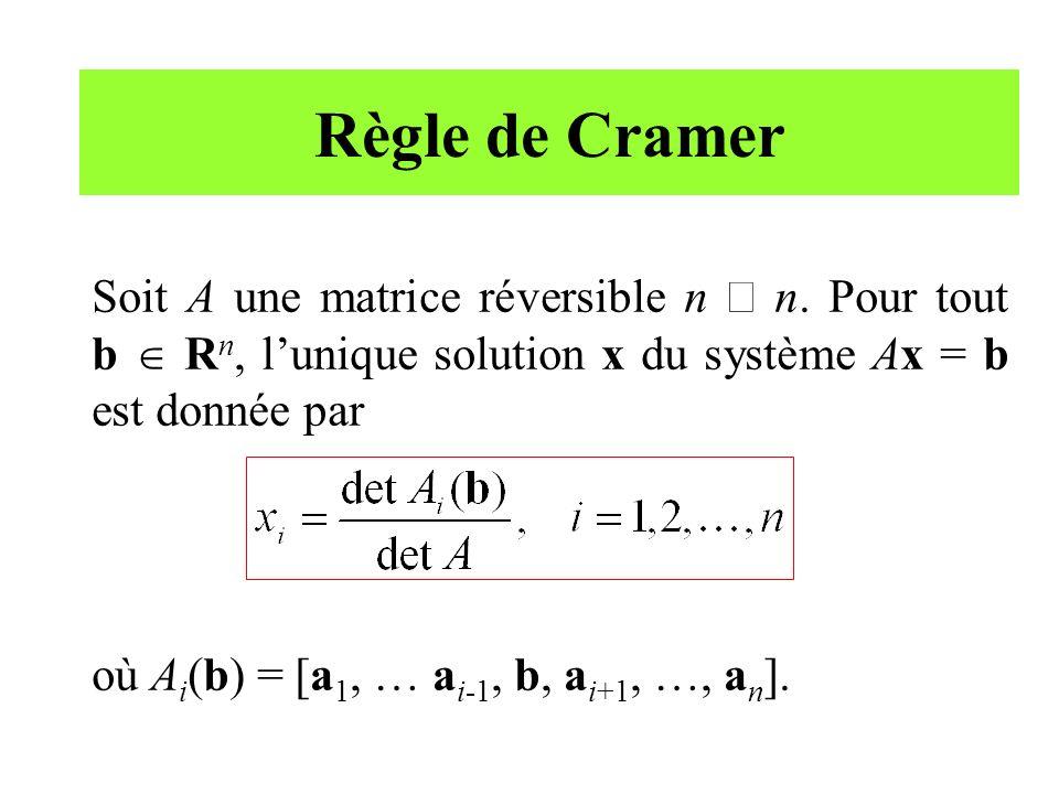 Règle de Cramer Soit A une matrice réversible n ´ n. Pour tout b  Rn, l'unique solution x du système Ax = b est donnée par.