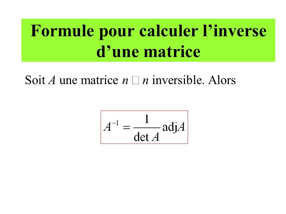Formule pour calculer l'inverse d'une matrice