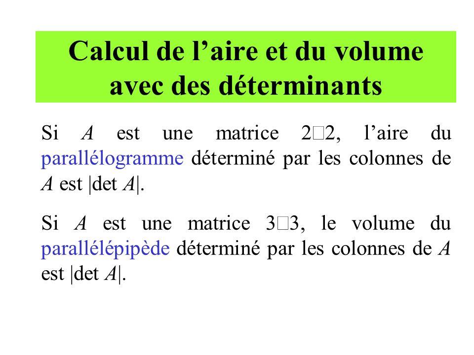 Calcul de l'aire et du volume avec des déterminants