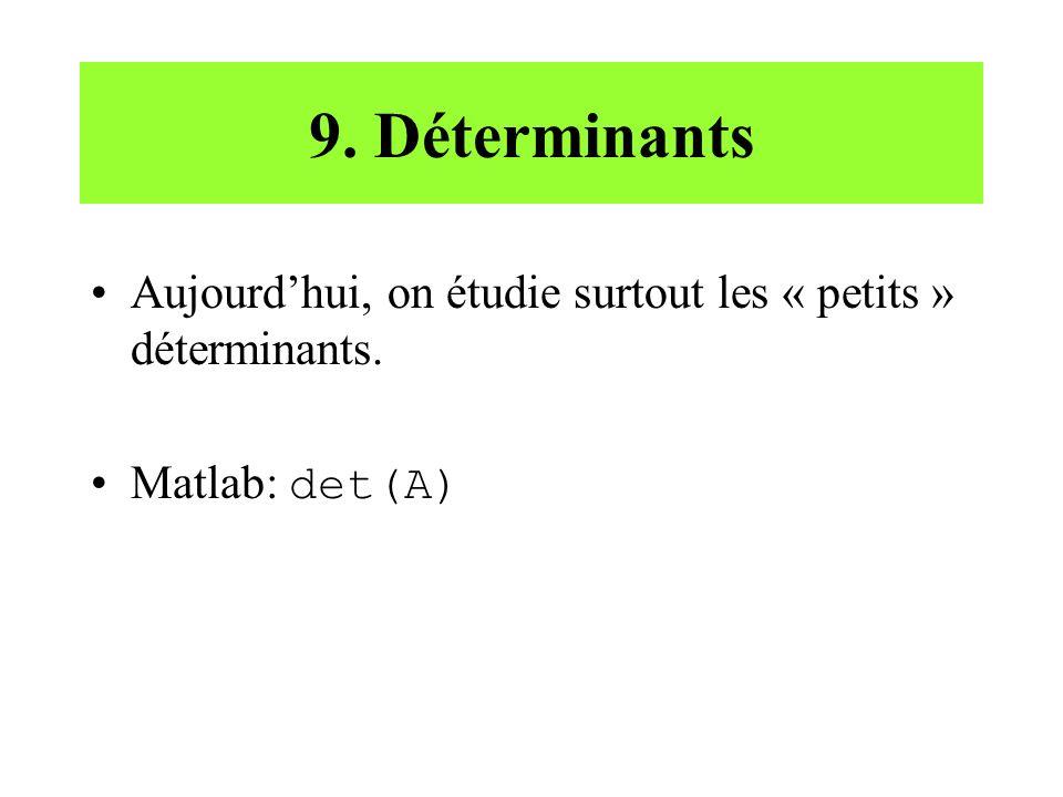 9. Déterminants Aujourd'hui, on étudie surtout les « petits » déterminants. Matlab: det(A)