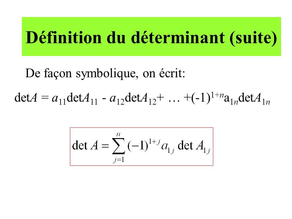 Définition du déterminant (suite)