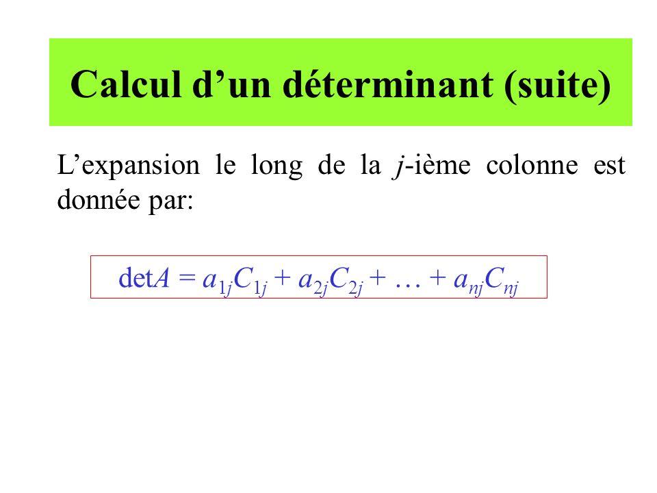 Calcul d'un déterminant (suite)