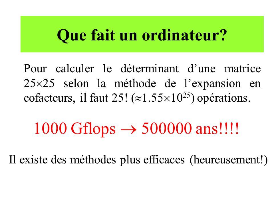 Que fait un ordinateur 1000 Gflops  500000 ans!!!!